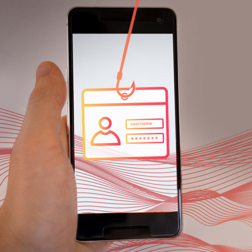 Contact information being hooked in a smishing attempt on a mobile phone